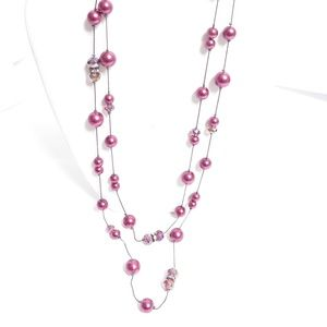 Coldwater Creek Cranberry & Crystal Bead Necklace